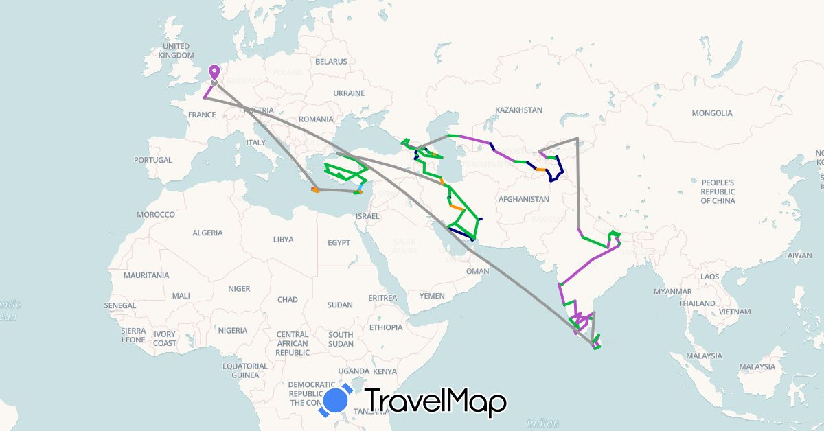 TravelMap itinerary: driving, bus, plane, train, hiking, boat, hitchhiking in United Arab Emirates, Armenia, Azerbaijan, Belgium, Cyprus, France, Georgia, Greece, India, Iran, Kyrgyzstan, Kazakhstan, Sri Lanka, Nepal, Tajikistan, Turkey, Uzbekistan (Asia, Europe)